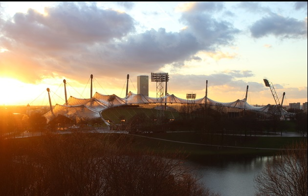Olympiaparkt-Abenddämmerung